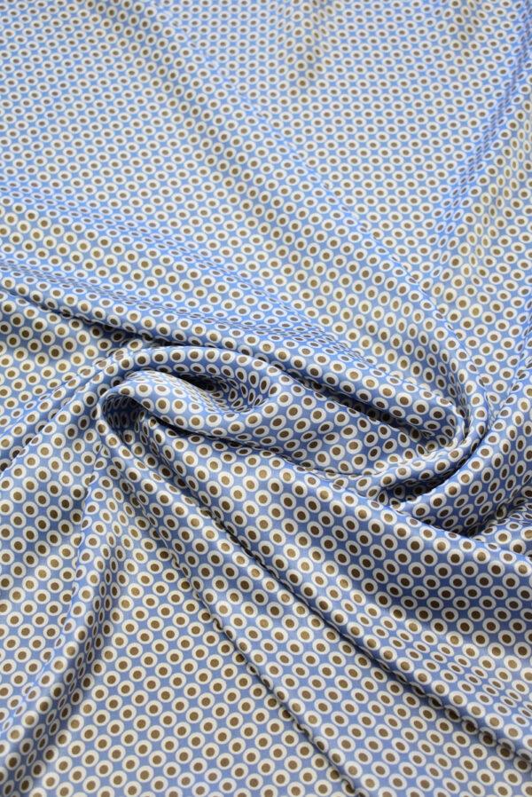 Шелк атлас голубой в горошек (7947) - Фото 8