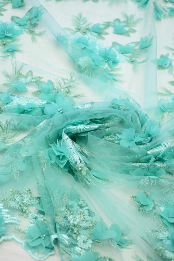 Кружево бирюзовое с 3Д цветами (8058) - Фото 10