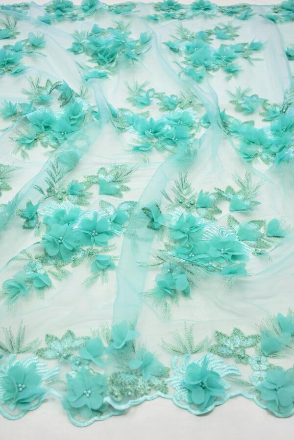 Кружево бирюзовое с 3Д цветами (8058) - Фото 6