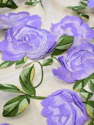 Вышивка на сетке сиреневые цветы на бежевом фоне (8132) - Фото 15