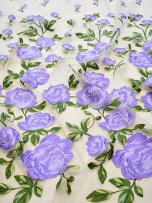 Вышивка на сетке сиреневые цветы на бежевом фоне (8132) - Фото 14