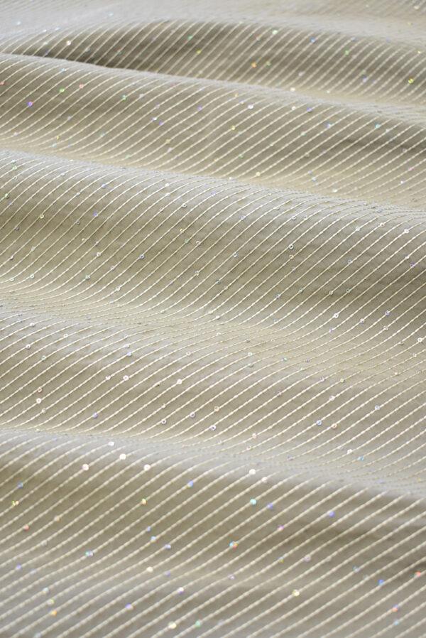 Тафта бежевая с мелкими пайетками (8180) - Фото 6