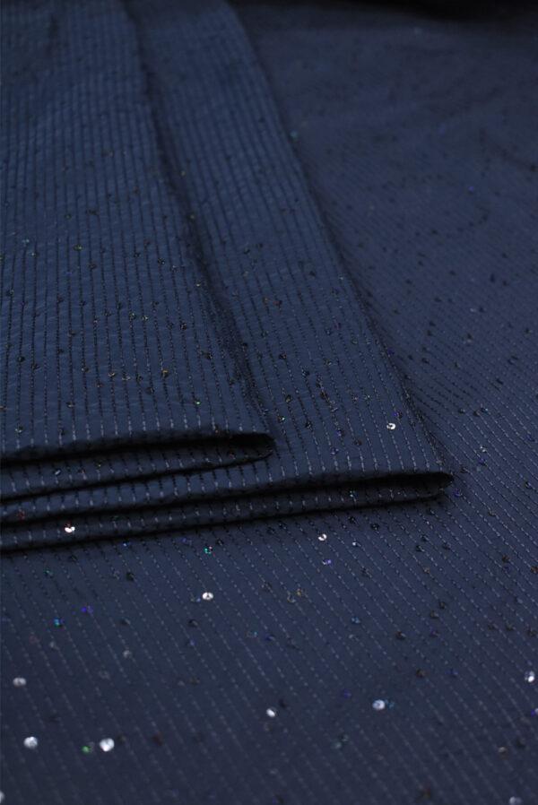 Тафта темно-синяя с мелкими пайетками (8183) - Фото 7