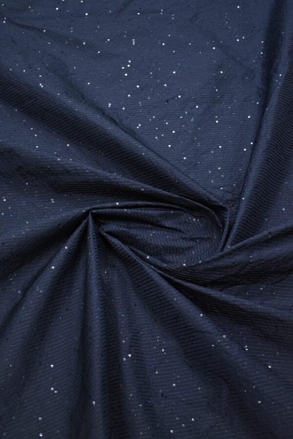 Тафта темно-синяя с мелкими пайетками (8183) - Фото 8
