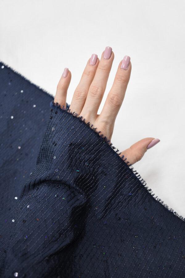 Тафта темно-синяя с мелкими пайетками (8183) - Фото 9