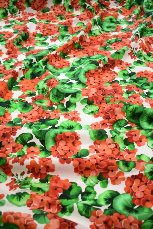Хлопок белый с красными цветами (8670) - Фото 6