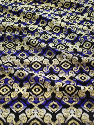 Жаккард сине-черный с золотым орнаментом (8839) - Фото 15