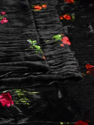 Бархат жатый черный в мелкий цветочек (8860) - Фото 29