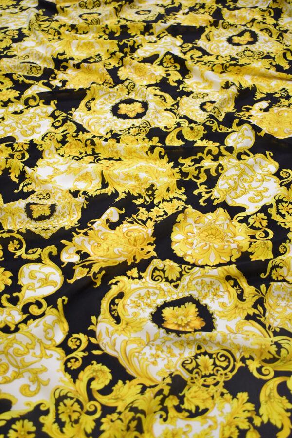 Шелк черный с золотыми цветами и завитками (8902) - Фото 6