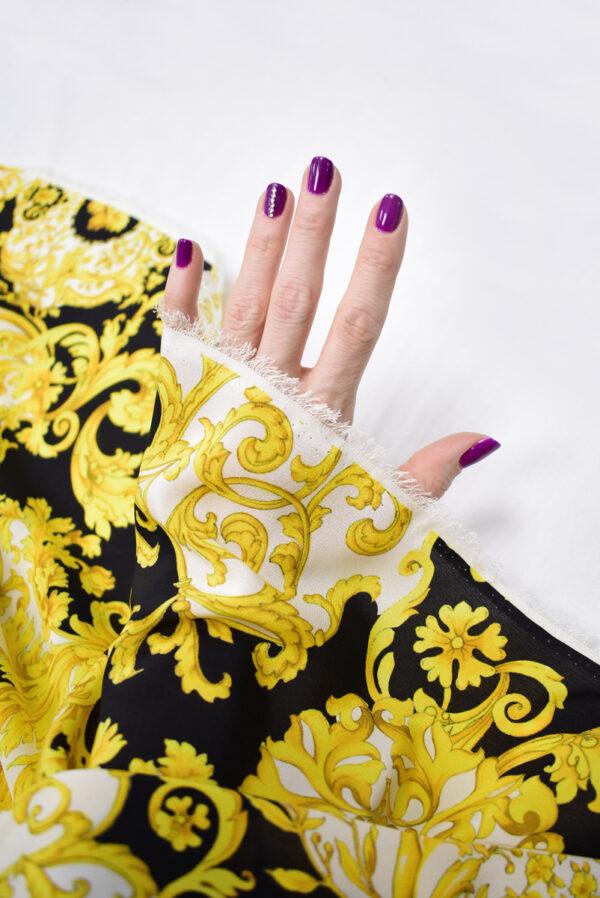 Шелк черный с золотыми цветами и завитками (8902) - Фото 7