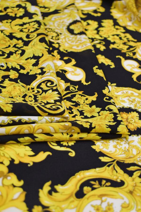 Шелк черный с золотыми цветами и завитками (8902) - Фото 9