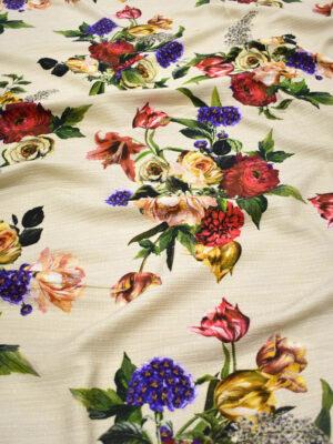 Твид хлопковый беж с цветами (8987) - Фото 13