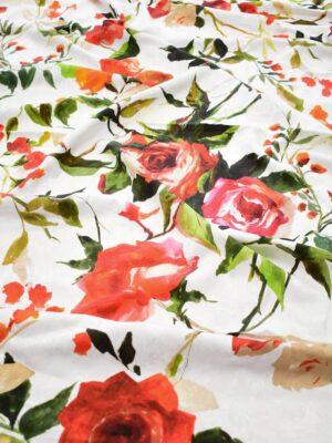 Креп белый с красными розами (9094) - Фото 14