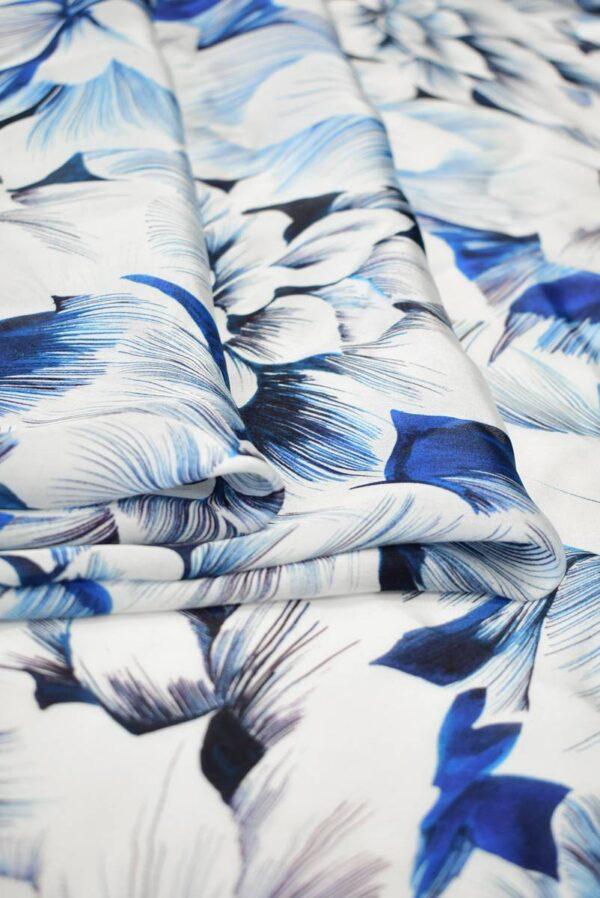 Шелк белый с синими и голубыми цветами (9098) - Фото 9