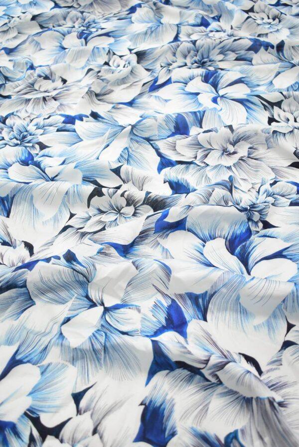 Шелк белый с синими и голубыми цветами (9098) - Фото 6