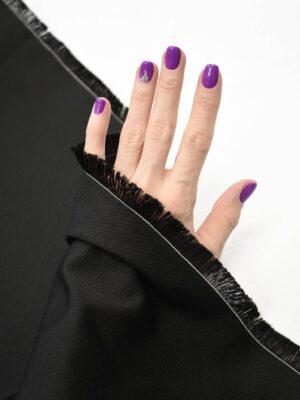 Костюмная ткань черная в мелкий рубчик (9118) - Фото 17