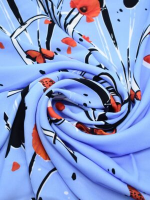 Креп голубой с маками и бабочками (9138) - Фото 13
