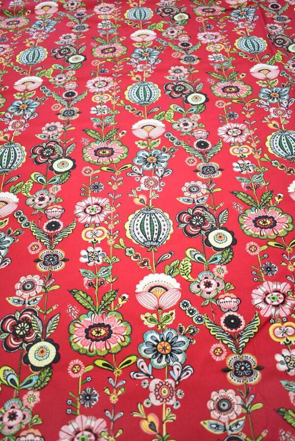 Хлопок стрейч стилизованные цветы на красном (9144) - Фото 11