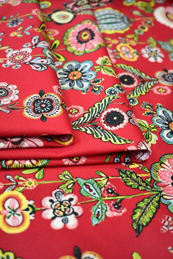Хлопок стрейч стилизованные цветы на красном (9144) - Фото 10