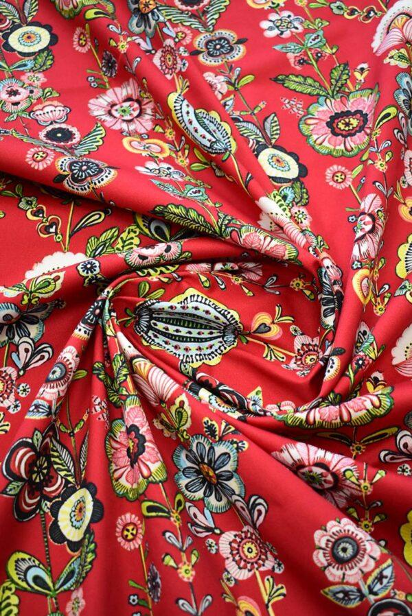 Хлопок стрейч стилизованные цветы на красном (9144) - Фото 8