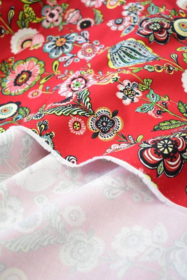 Хлопок стрейч стилизованные цветы на красном (9144) - Фото 9