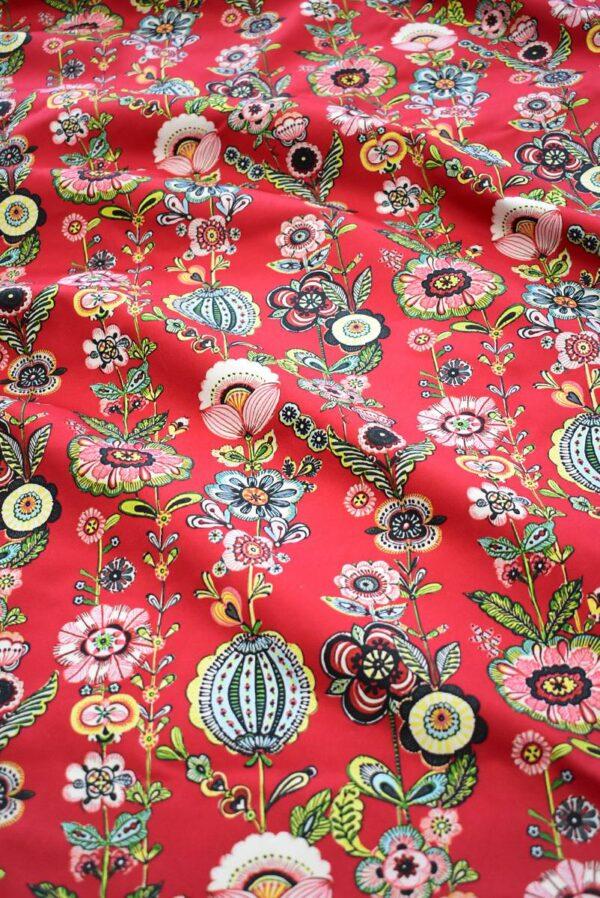 Хлопок стрейч стилизованные цветы на красном (9144) - Фото 6