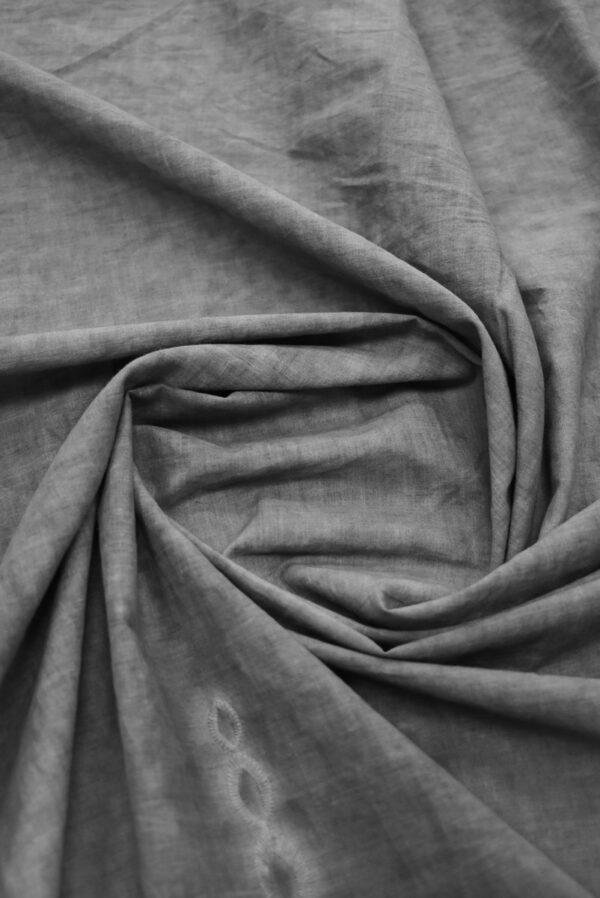 Хлопок варенка серый с вышивкой и кружевной каймой (9178) - Фото 9