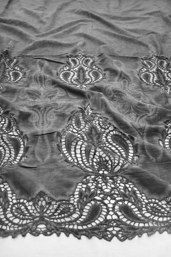 Хлопок варенка серый с вышивкой и кружевной каймой (9178) - Фото 6