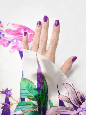 Шелк атласный белый с розовыми и фиолетовыми цветами (9194) - Фото 13