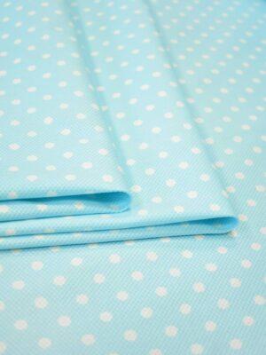 Хлопок пике стрейч светло-голубой в белый горошек (9203) - Фото 18