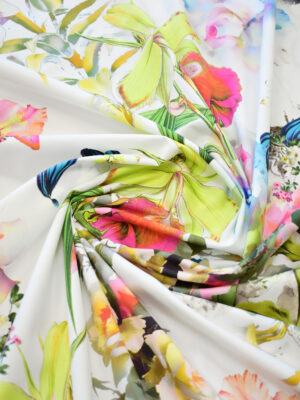 Хлопок стрейч белый с разноцветными цветами (9222) - Фото 19