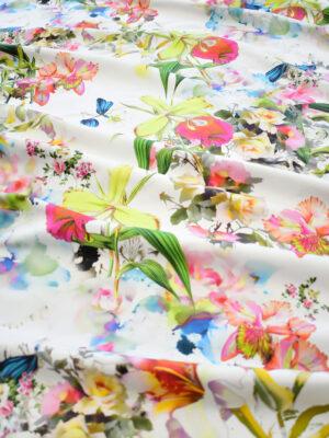 Хлопок стрейч белый с разноцветными цветами (9222) - Фото 18