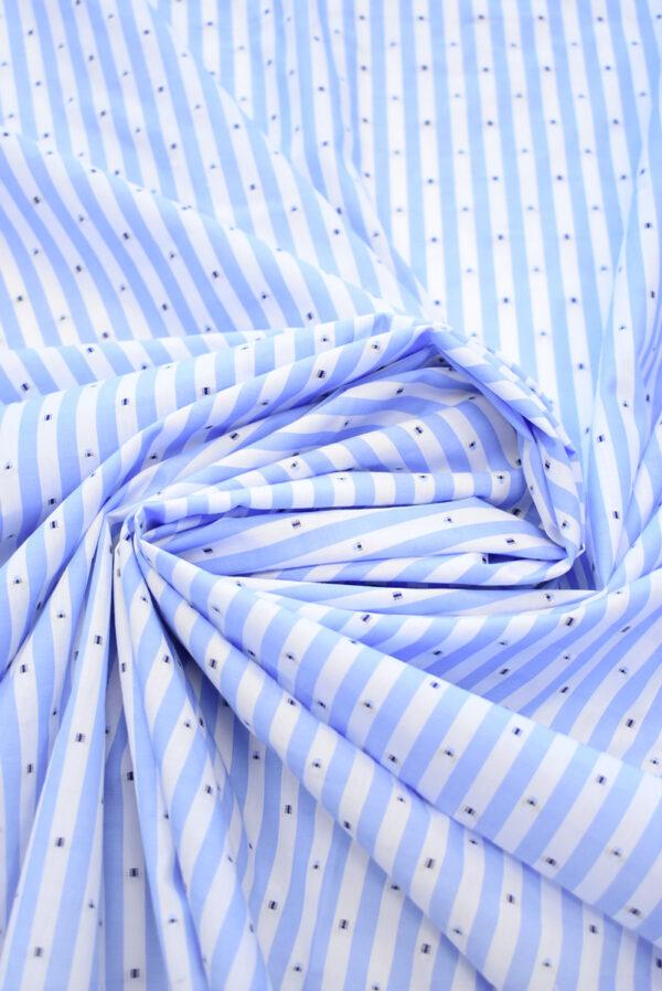 Хлопок с вышивкой в голубую полоску (9230) - Фото 9