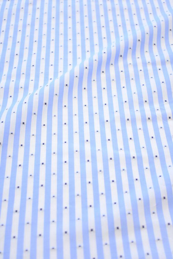 Хлопок с вышивкой в голубую полоску (9230) - Фото 11