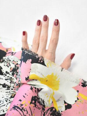 Пике стрейч ярко-розовый с крупными цветами (9232) - Фото 17