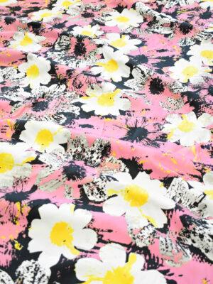 Пике стрейч ярко-розовый с крупными цветами (9232) - Фото 16
