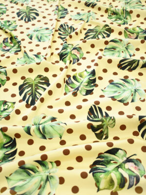 Шелк стрейч желтый с листьями и горохом (9264) - Фото 18