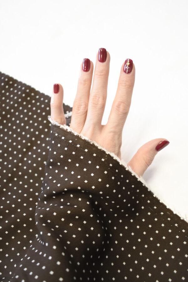 Штапель коричневый в мелкий квадратик (9277) - Фото 7