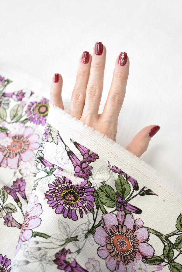 Рогожка белая с фиолетовыми цветами (9274) - Фото 7