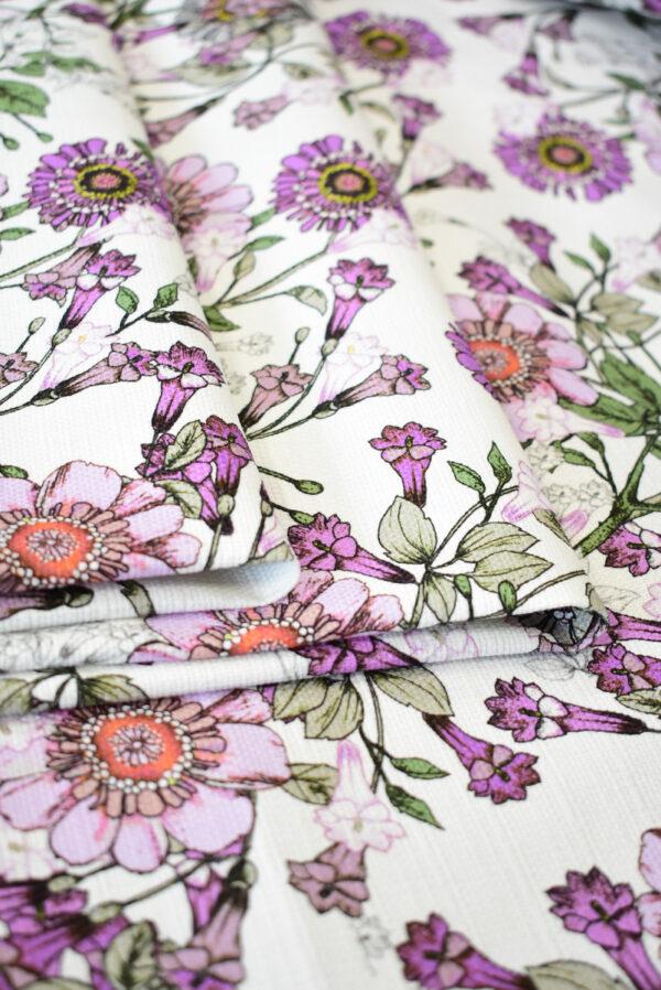Рогожка белая с фиолетовыми цветами (9274) - Фото 11