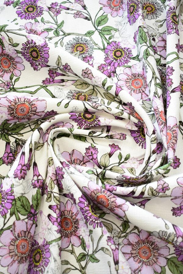 Рогожка белая с фиолетовыми цветами (9274) - Фото 8