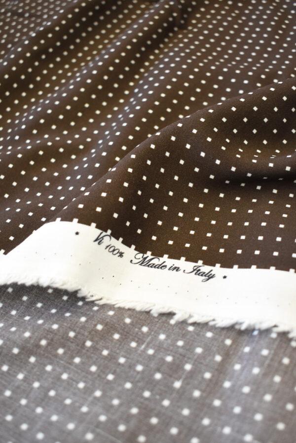 Штапель коричневый в мелкий квадратик (9277) - Фото 10
