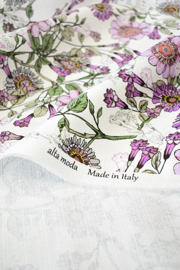 Рогожка белая с фиолетовыми цветами (9274) - Фото 10