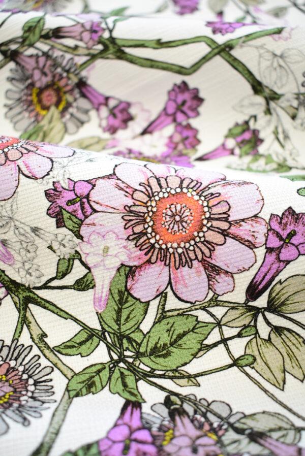Рогожка белая с фиолетовыми цветами (9274) - Фото 9