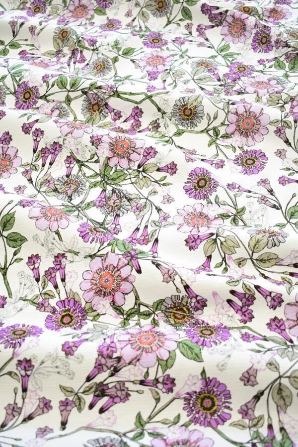 Рогожка белая с фиолетовыми цветами (9274) - Фото 6