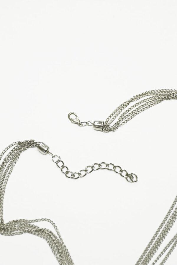 Колье металл серебро с цепями и подвесками 2