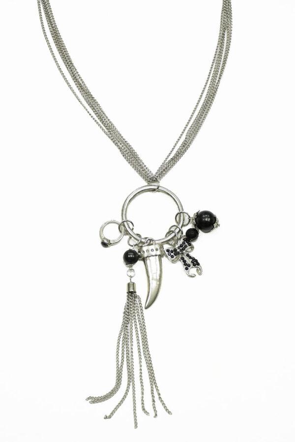 Колье металл серебро с цепями и подвесками