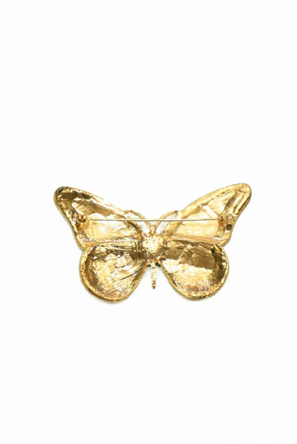 Брошь золотая бабочка с блестками и стразами 1