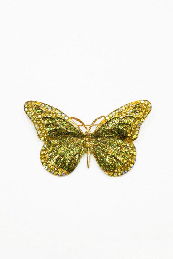 Брошь золотая бабочка с блестками и стразами