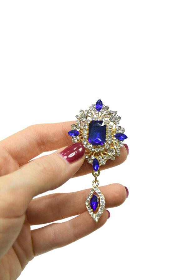 Брошь золотистая с синими и белыми кристаллами 2